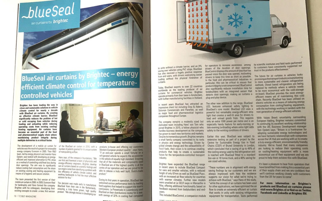 Article about Brightec and BlueSeal air curtains in TCS&D magazine